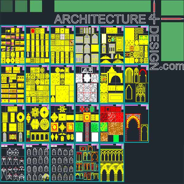 Islamic architecture decoration AutoCad DWG filw