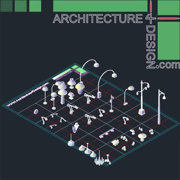 autocad 3d chandelier, 3d pole, 3d shade, 3d light bulb, decorative lights, 3d lampshade