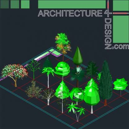 3D pine, 3D cypress, 3d confiers for Autocad dwg file