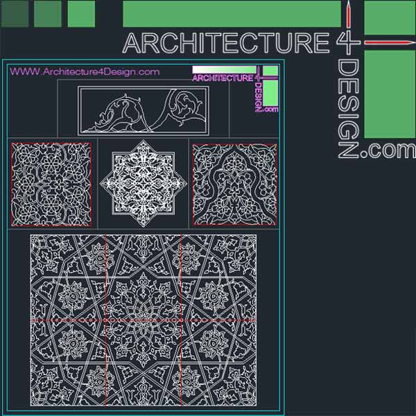Islamic arabesque islimi geometric akd non-geometric ornament