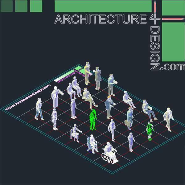 3d autocad entorage, 3d human objects