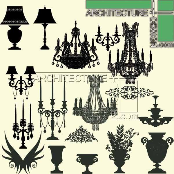 chandelier elevation, furniture for section