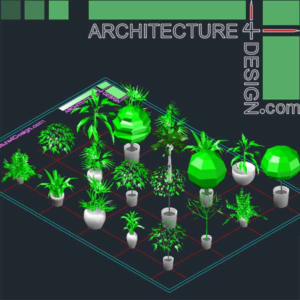 Autocad 3d Trees And Shrubs Models Dwg File