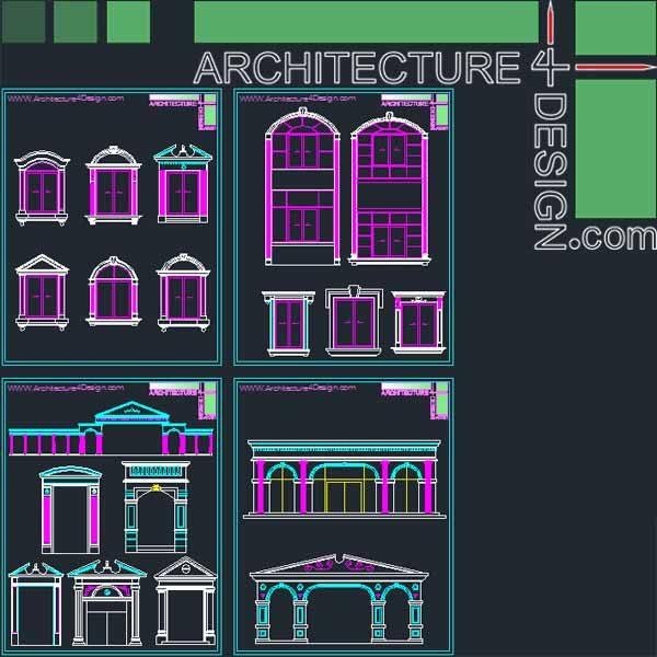 classical architecture pediment and windows