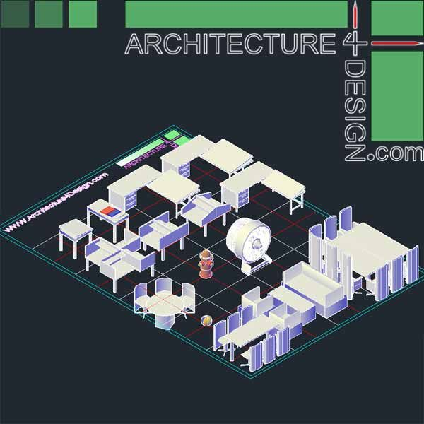 3d dining table, 3d furniture for autocad