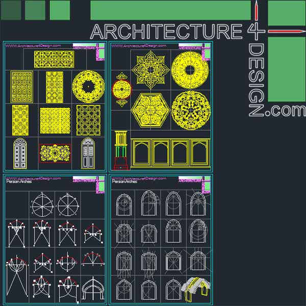 Iranian - Islamic rchitecture Arches and vaults- Islamic ornament Autocad DWG file