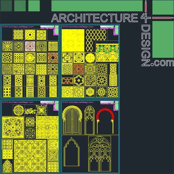 340 Islamic architecture ornament motifs and arches for AutoCad (DWG file)