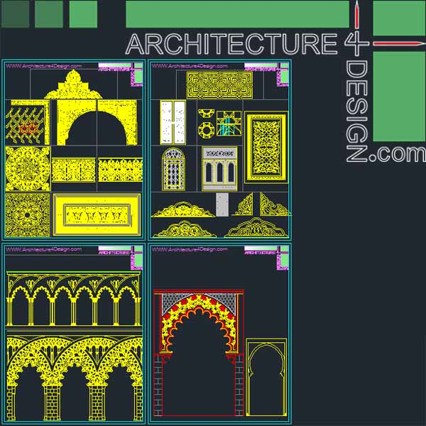 Islamic Architecture Decoration Elements For Autocad Dwg