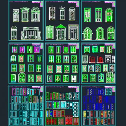 Doors and windows design AutoCad DWG file