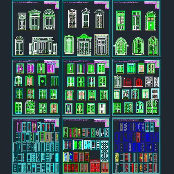 Doors and windows design AutoCad DWG file