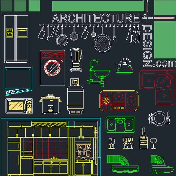 Kitchen furniture and layout designs for Autocad