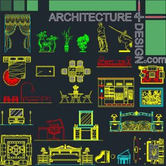 Bedroom and living room furniture for AutoCad blocks in top view and elevation