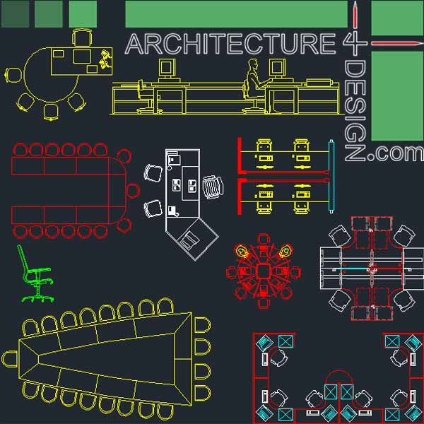 Office furniture symbols and layouts collection autocad for Office design dwg