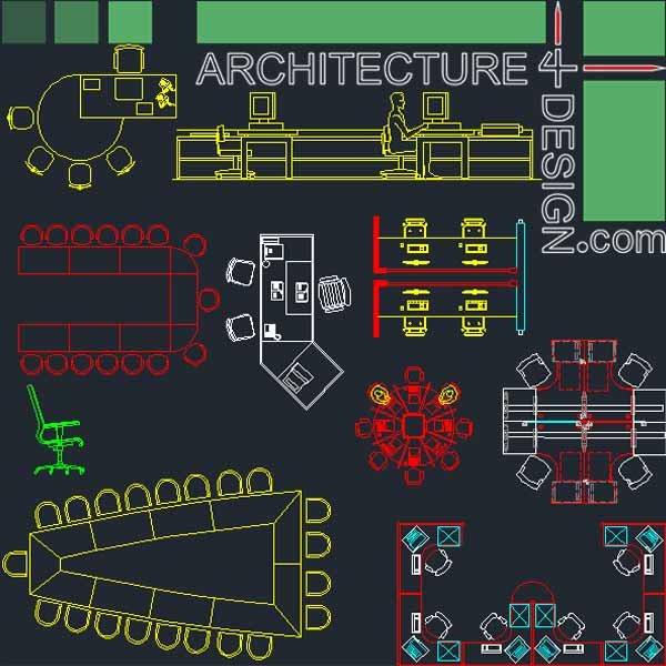 Office furniture symbols and layouts collection autocad Opensource cad dwg