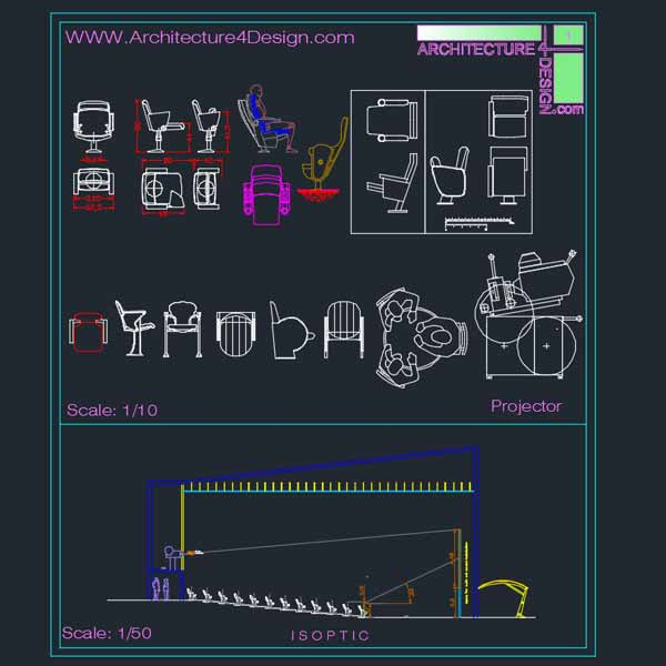 cinema architectural design samples-Autocad drawings