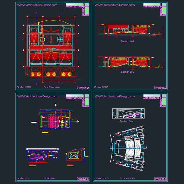 cinema architecture plans and sections