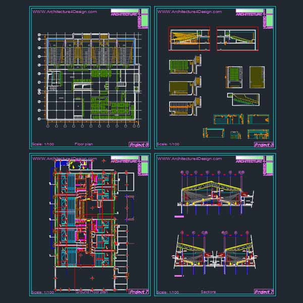 Cinema Architecture Design A Collection Of 11 Cinema Building Designs Autocad Drawings