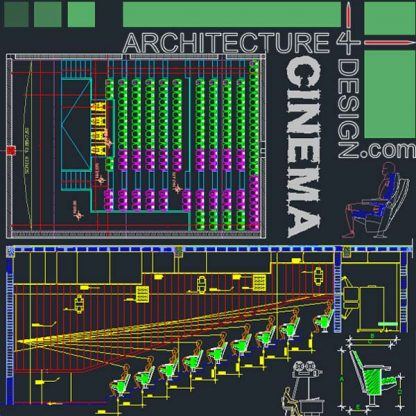 Cinema architectural design, Autocad drawings