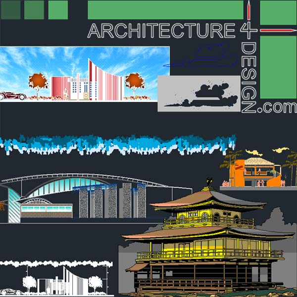 Autocad 2D facade presentation and rendering