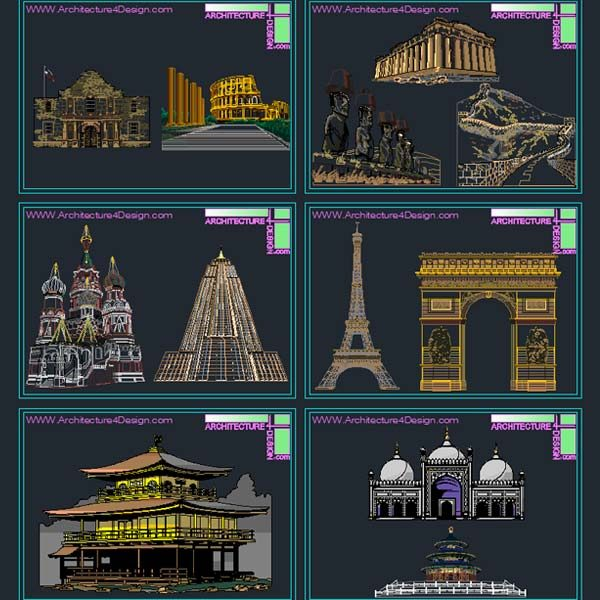 Famous Facades Autocad illustration