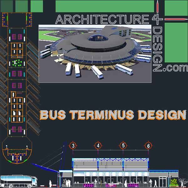 Plan Elevation Section Of Bus Stop : Bus terminal architecture design a collection of