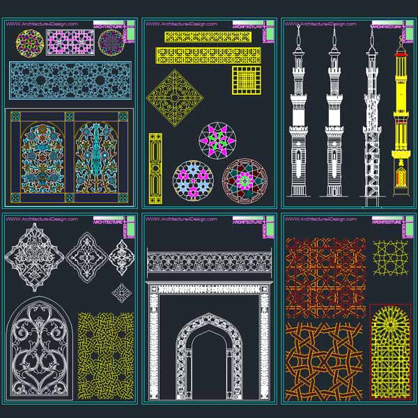 Autocad collection of islamic decoration pieces for Decoration maison islam