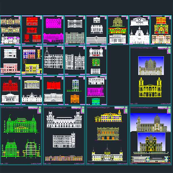 Classical architecture style fa ades autocad collection for Barhocker 2d dwg