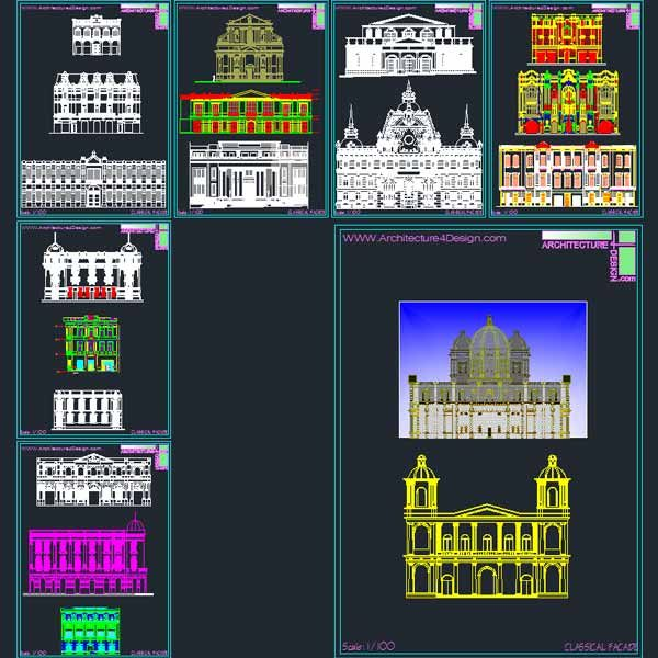 neo-classical facades architecture design- Autocad drawings