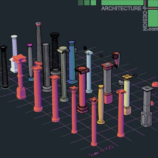 classical architecture 3D columns: Doric, Corinthian, Ionic and others