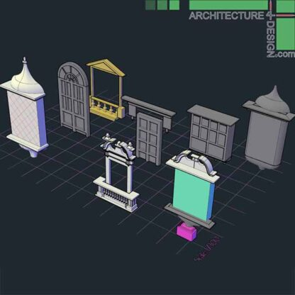 AutoCad 3D objects of classical windows frames