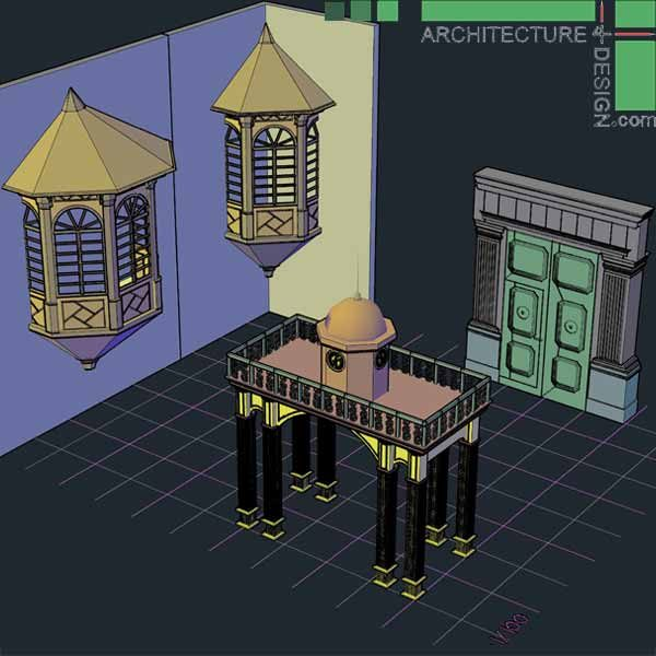 classical architecture 3D models for AutoCad
