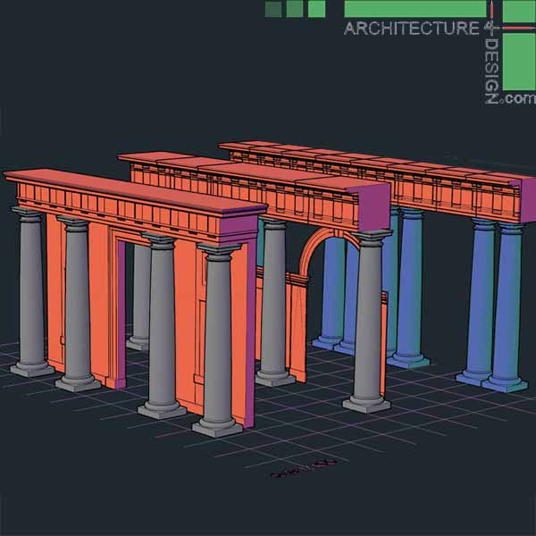 Stone Elevation Cad : D objects of classical architecture facades for autocad