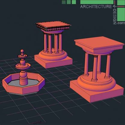 AutoCad 3D blocks of classical and roman architecture