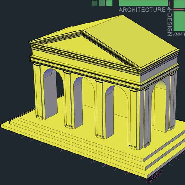 Classical architecture 3D pediment