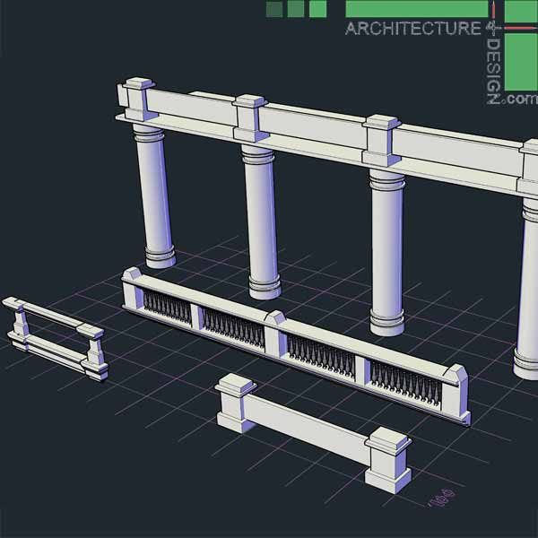 classical architecture 3d pillar and hand-railing