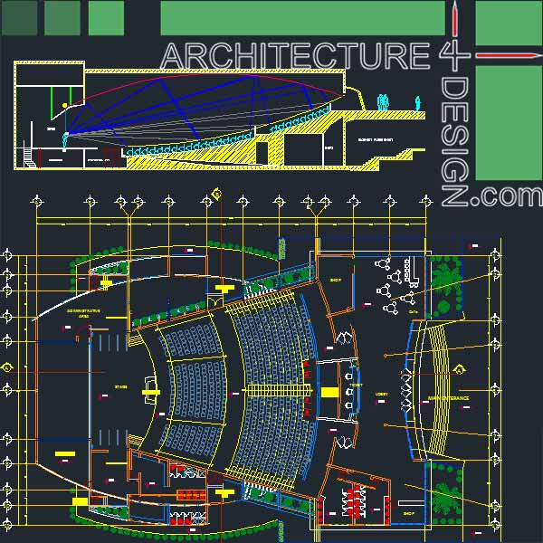Elevation Plan In Autocad : Auditorum architecture design samples autocad drawings