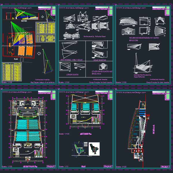auditorium architecture design samples autocad dwg drawings