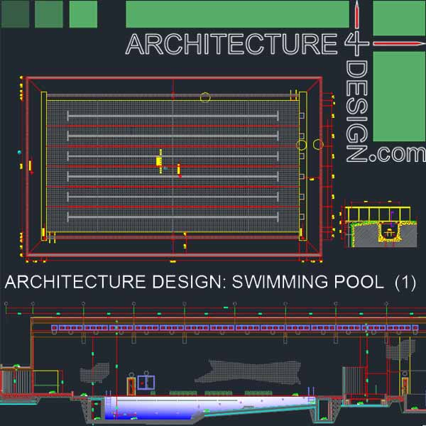 Sport complex swimming pool architecture design autocad for Pool design drawings