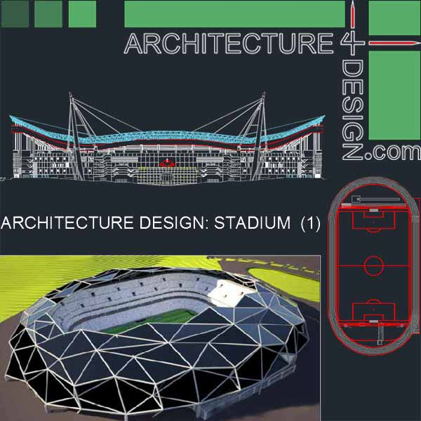 Stadium architectural design samples- Autocad drawings