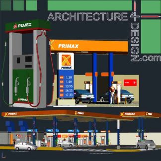 3d gas station models and equipment