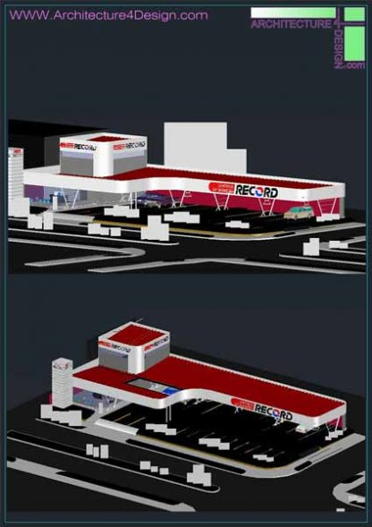 3d gas station model autocad file