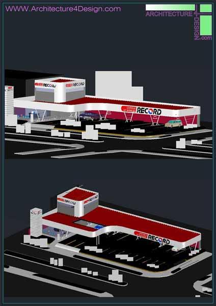 3d gas station model autocad file