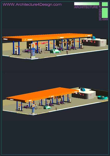 3d designs of gas station autocad collection for Simboli gas dwg