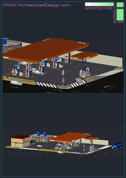 3d model of petrol station