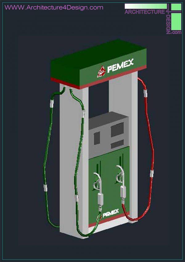 fuel dispenser autocad 3d model