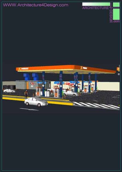 gas station 3d blocks