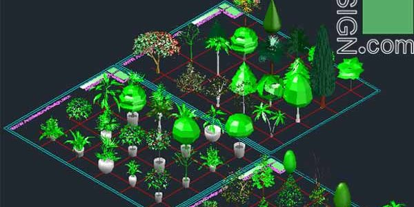 60 Autocad 3D trees and shrubs models (DWG file)