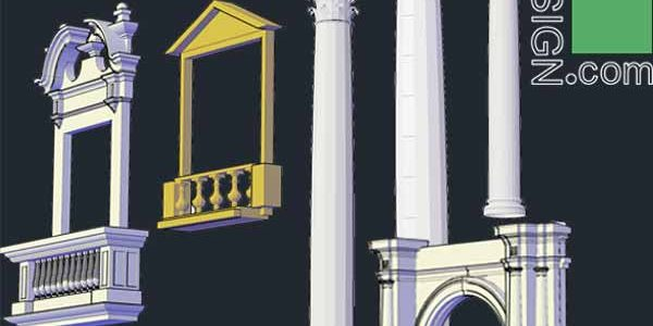 3D objects of classical architecture facades for Autocad
