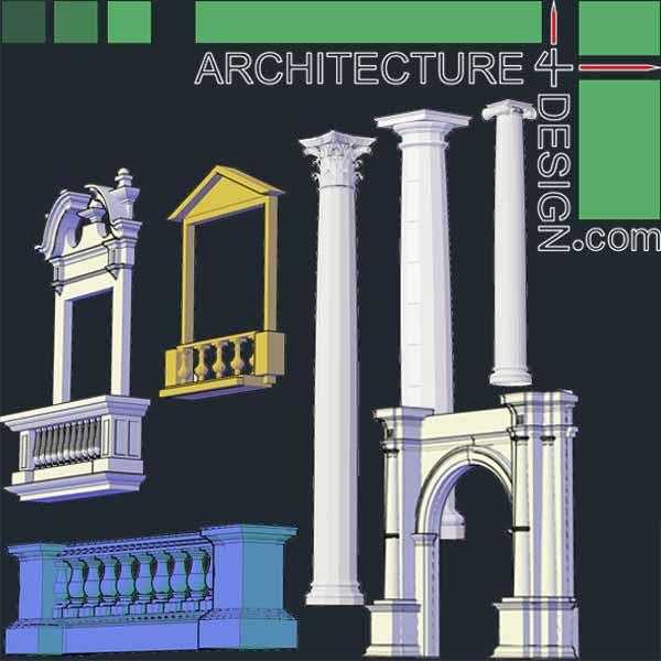 Classical architecture 3D symbols