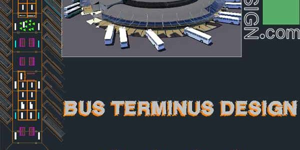Bus terminal architecture design, a collection of 11 bus terminal complex designs (AutoCad drawings)
